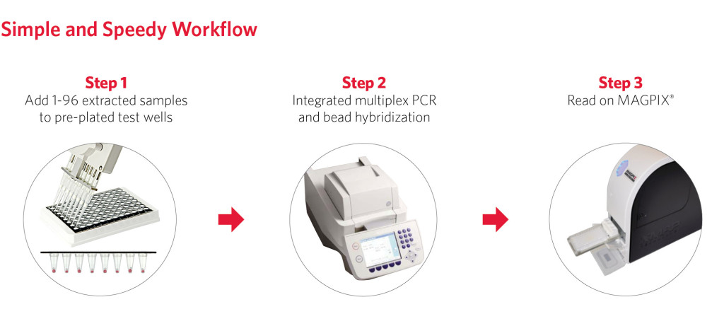 NxTAG® Respiratory Pathogen Panel (RPP) Workflow | Step 1: Add 1-96 extracted samples to pre-plated test wells. Step 2: Integrated multiplex PCR and bead hybridiation Step 3: Read on MAGPIX®